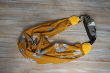 Load image into Gallery viewer, Mustard Yellow Daisy Scarf Camera Strap - Turmeric Colour Daisy Shawl Camera Strap