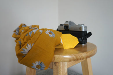 Mustard Yellow Daisy Scarf Camera Strap - Turmeric Colour Daisy Shawl Camera Strap