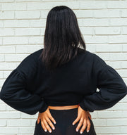Bodied Over-sized Crop sweater black on black or white logo! Leave color in notes