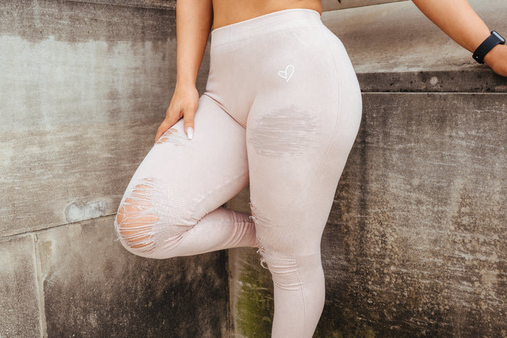 Rose Bud Distressed Leggings