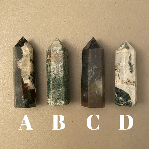 Moss Agate Crystal Points (Small)