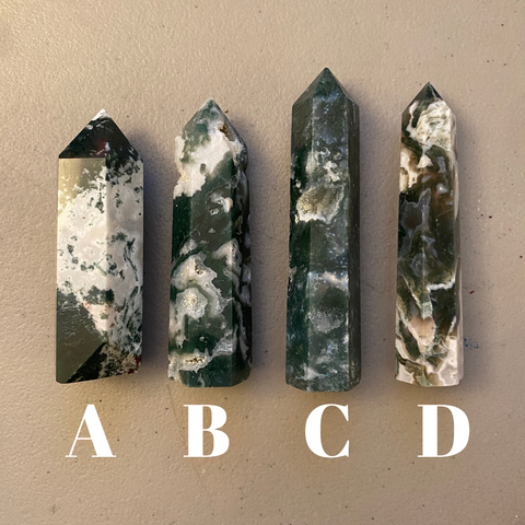 Moss Agate Crystal Points (Large)