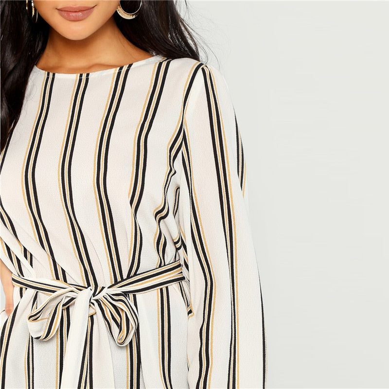 White Office Lady Elegant Striped Print Scoop Neck Long Sleeve Blouse