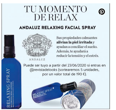 delooks andaluz skincare relaxing spray relajante