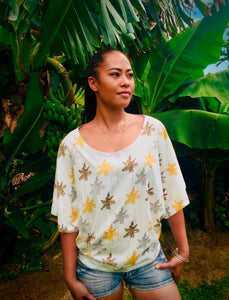 Tees, Tee top, Tops, organic cotton tees, organic cotton t-shirts, organic cotton, aloha shirt, aloha wear, banana print, banana tree, Hawaiian print, Hawaiian style