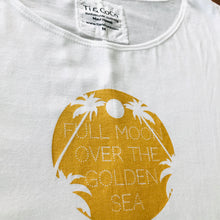 Load image into Gallery viewer, white, white & gold, white and gold, white tee, golden print, gold print, gold, full moon, palm tree, palm tree tee, organic cotton tee, organic cotton, summer top, women's