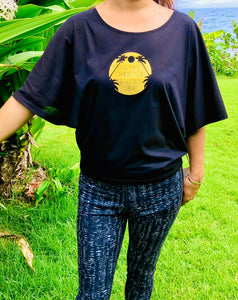 black, black and gold, black tee, golden print, gold print, gold, full moon, palm tree, palm tree tee, organic cotton tee, organic cotton, summer top, women's