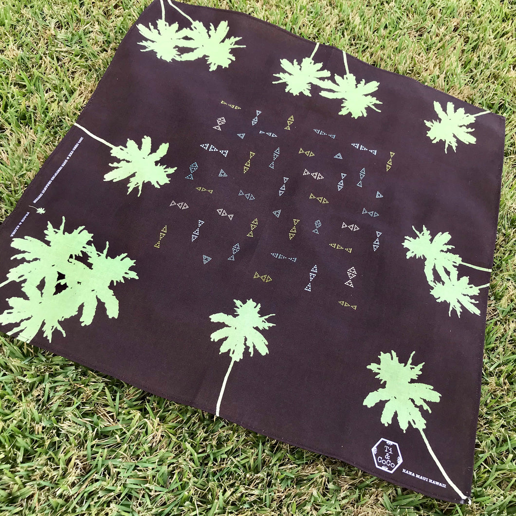 PALM TREE Organic Cotton Bandana in BROWN