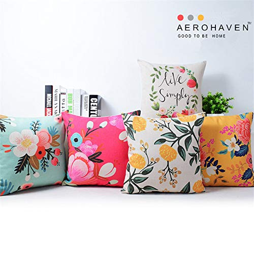 AEROHAVEN Cotton Decorative Throw Pillow/Cushion Covers (Multicolour, 16 x 16 inch) Set of 5