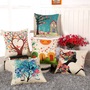 AEROHAVENTM Set of 5 Abstract Decorative Hand Made Jute Throw/Pillow Cushion Covers - (Multicolor, 16 Inch x 16 Inch)