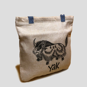 Yak Embroidered Jute Tote-Bag
