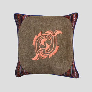 Jute Cushion Cover Patterned Edge