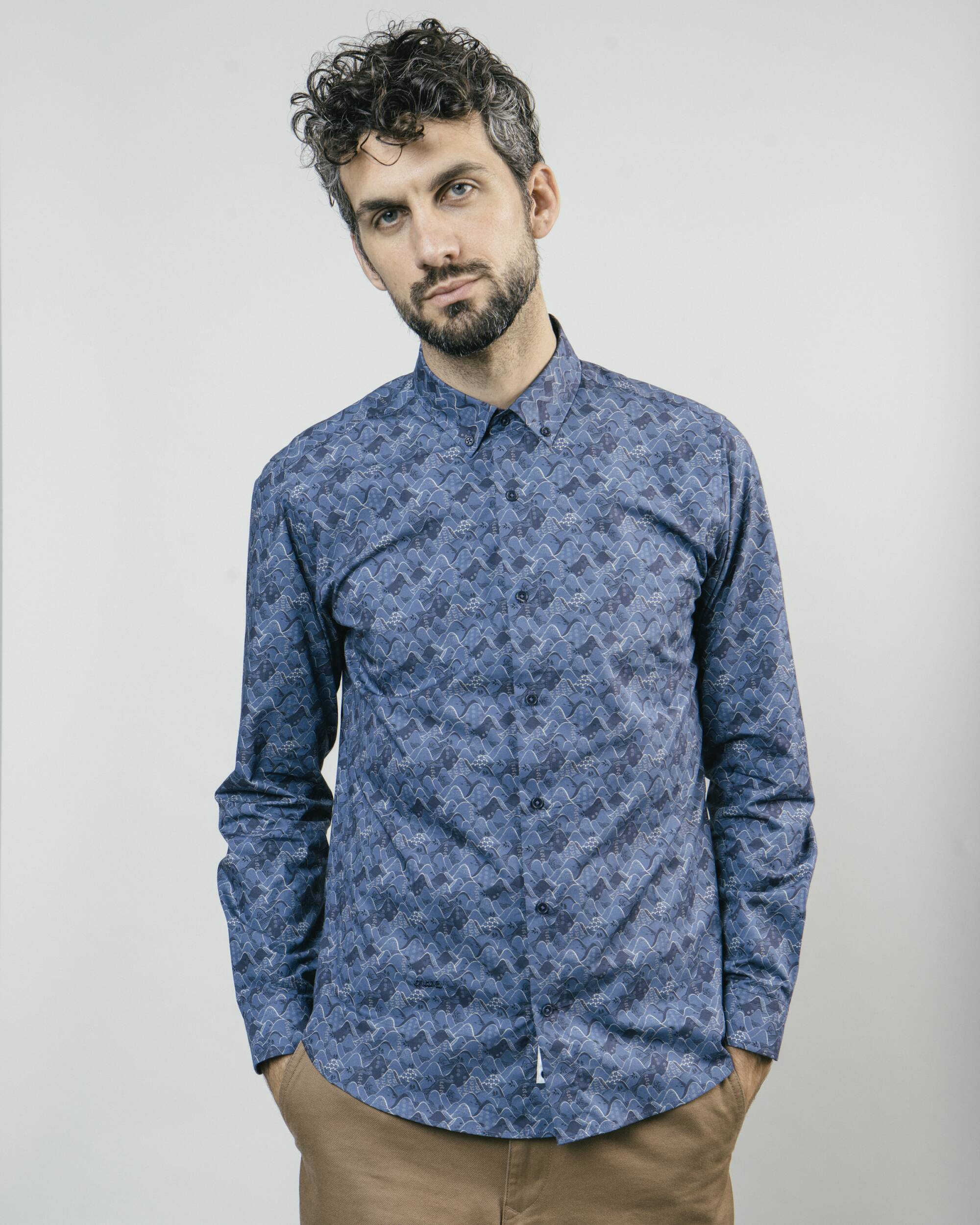 Brava Fabrics - Men's Shirt - Printed Shirt - Printed Shirts for Men - 100% Organic Cotton - Model Ibuki Mountains