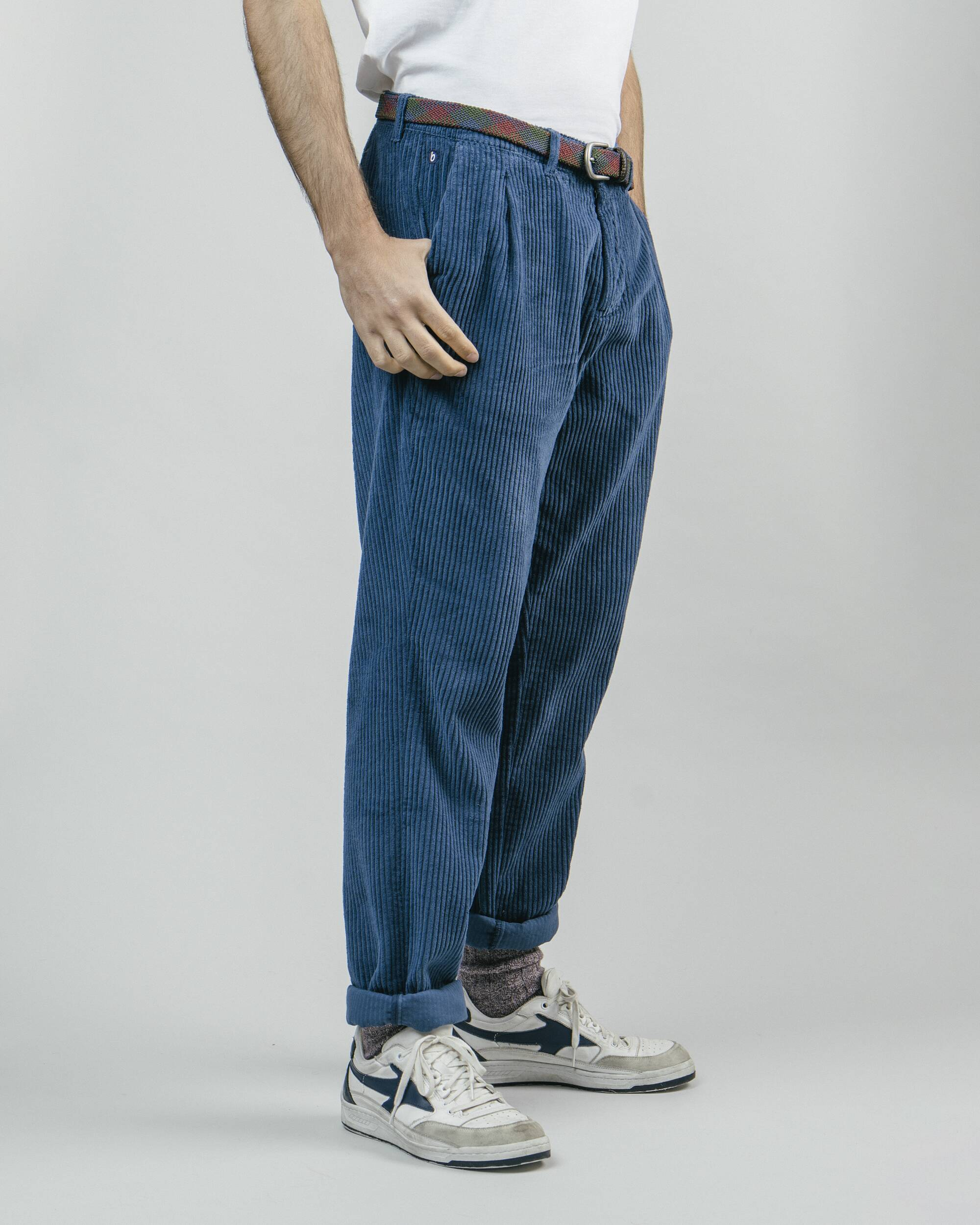 Brava Fabrics - Corduroy Pants - Corduroy Pants for Men - 100% Organic Cotton - Model Corduroy Navy