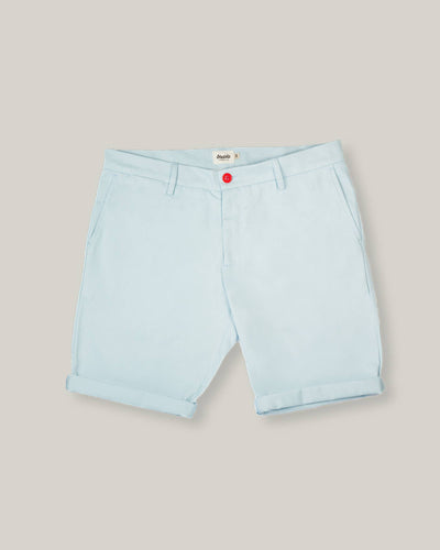 Brava Fabrics - Men's Shorts - Chinese Shorts for Men - Casual Bermuda Shorts - 100% Cotton - Blue - Model Red Dot Essential