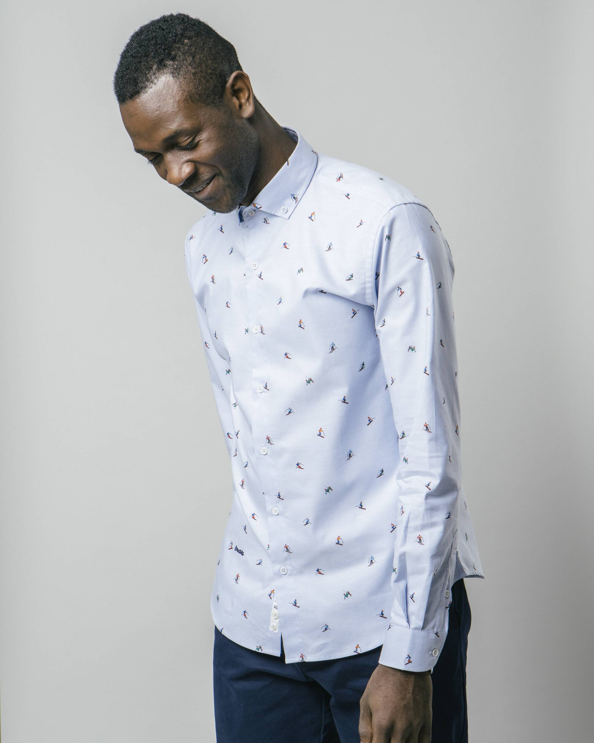 Slalom Race Blue Printed Shirt