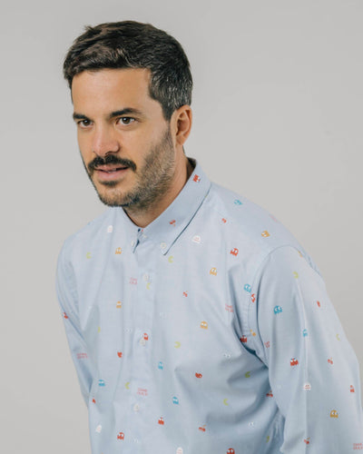 Brava Fabrics - Men's Shirt - Men's Oxford Shirt - 100% Organic Cotton - PAC-MAN™ x Brava