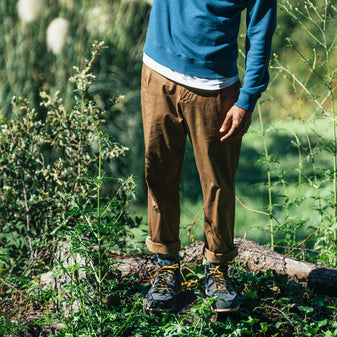 brown chino pants in the nature