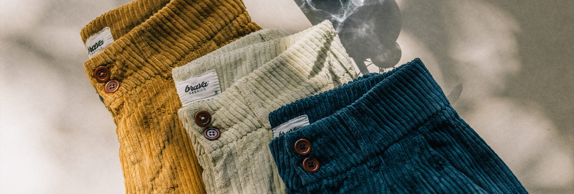 corduroy pants for women in three different colours