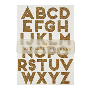 Gold Glitter <br> Alphabet Stickers