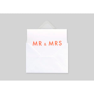 Mr & Mrs, Foil Blocked Card <br> In Neon Orange & White