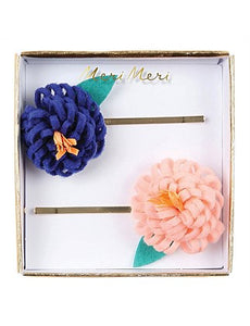 Knitted Flower Hair Slides
