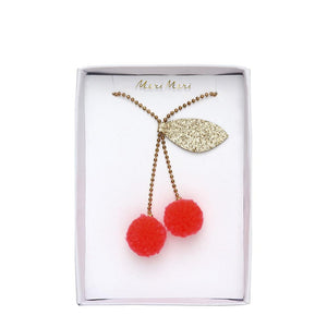 Meri Meri <br> Cherry Pompom Necklace