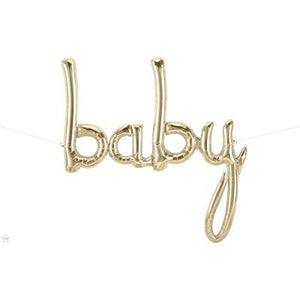 Baby Balloon Banner In White Gold