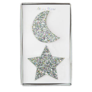 Large Star and Moon <br> Glitter Hair Clips