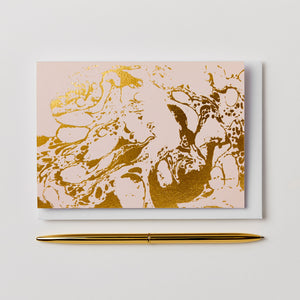 Blush Marble Notecard  <br> (Blank Inside)