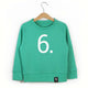 The Number 6 green sweatshirt front