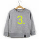 The Number 3 grey sweatshirt front