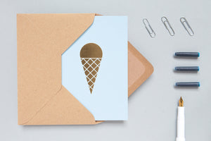 Ice Cream Card <br> Blue/Brass