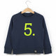 The Number 5 navy sweatshirt front