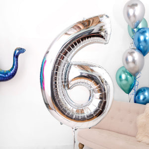 Inflated Silver Birthday Number