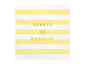 Pretty Pastel 'ALWAYS BE POSITIVE' Paper Napkins