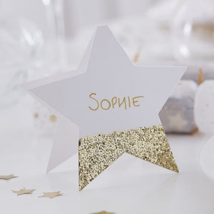 Gold Glitter Star Place Cards (6)