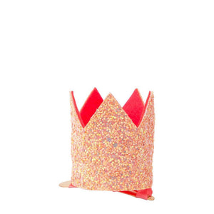 Mini Pink Glitter Crown <br> Hair Clip