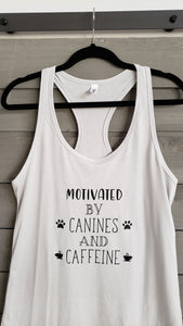 T-Shirt - Motivated By Canines and Caffeine - Womens - Vinyl
