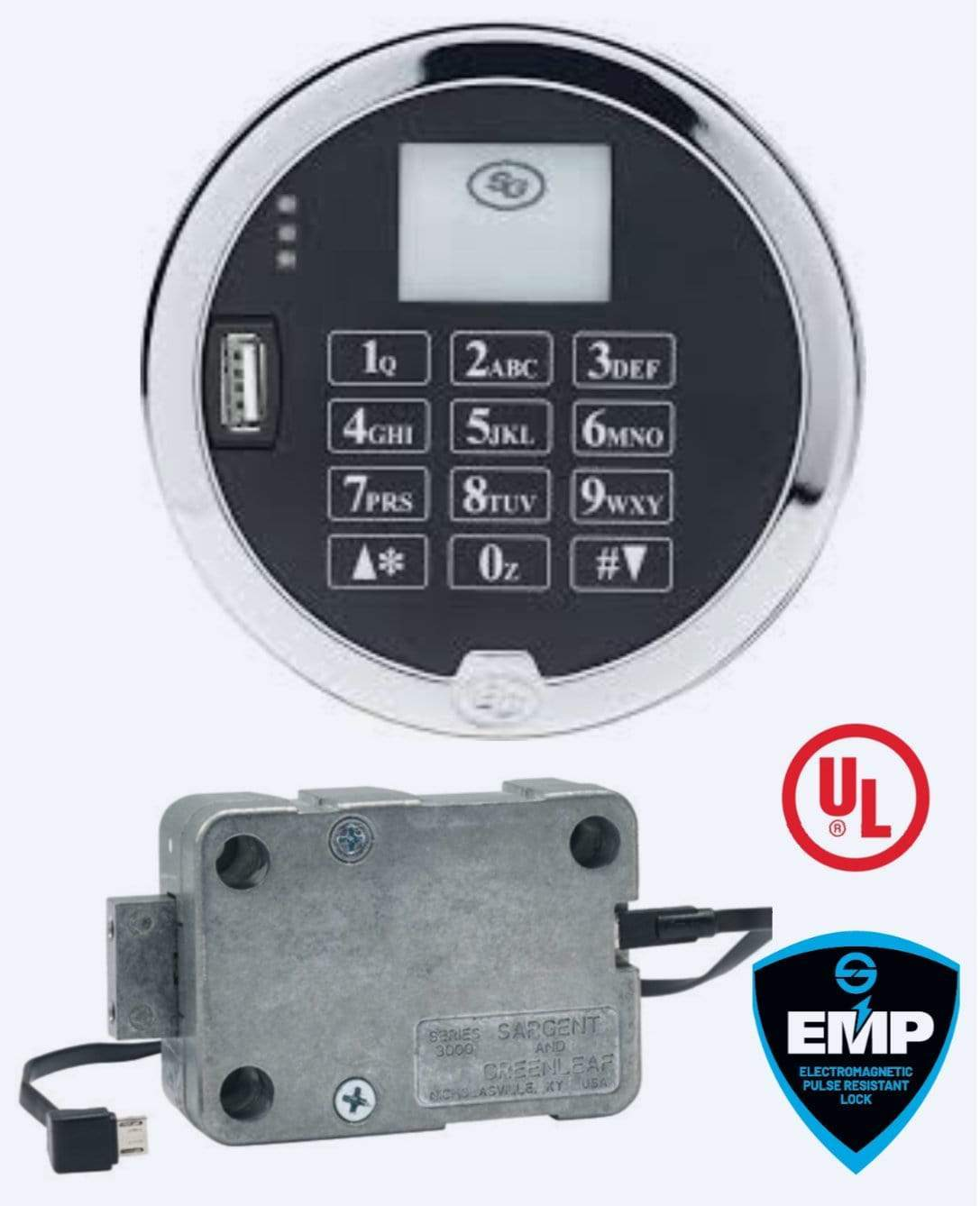 SG3029-502, Digital Time Lock, Push-Pull Design, Satin Chrome Keypad, 2-Battery