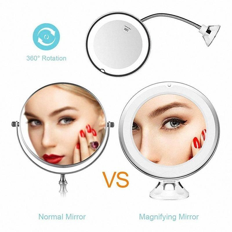 (BUY 2 FREE SHIPPING) Flexible Light Up Mirror 10X magnification 360-Degree Rotating Makeup Mirror