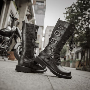 Skull Buckles Motorcycle Boots