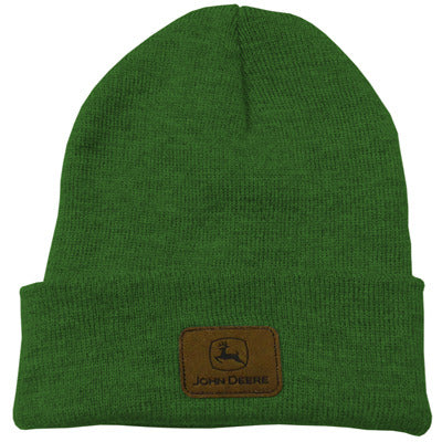 John Deere Green Knit Beanie with Leather Patch