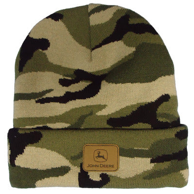 John Deere Camo Knit Beanie with Suede Patch
