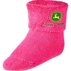 John Deere Girl Infant Bootie Sock Pink