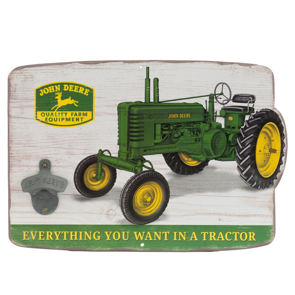 John Deere Vintage Tractor Sign with Bottle Opener