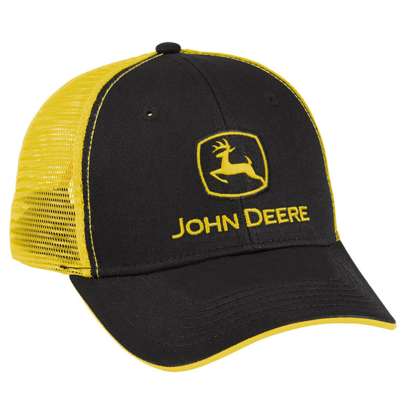 John Deere Black/Yellow Mesh Cap