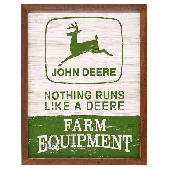 John Deere Retro Wood Framed Sign