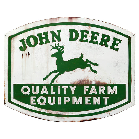 John Deere Vintage Quality Logo Large Tin Sign