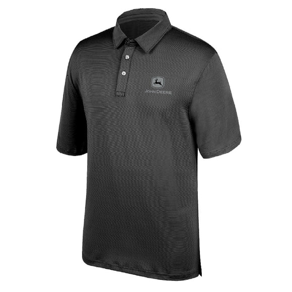 John Deere Mens Charcoal Poly Polo